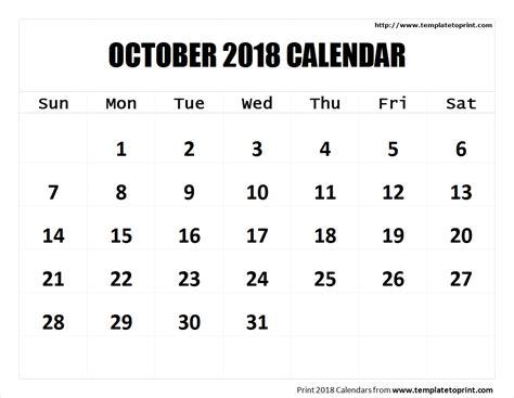 October 2018 Calendar Pdf Blank Calendar Templates 2018 Pdf Calendar Template