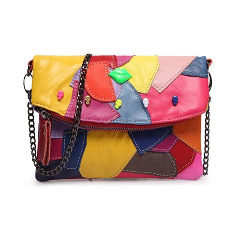 Patchwork Leather Handbags - designer patchwork genuine leather handbags high quality
