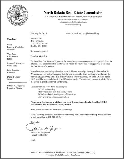 Credit Term Approval Letter Dakota Real Estate Commission Approves Internachi As A School For Licensed Real Estate