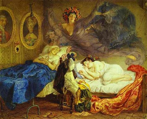 paint dream dreams of grandmother and granddaughter painting karl briullov oil painting reproduction