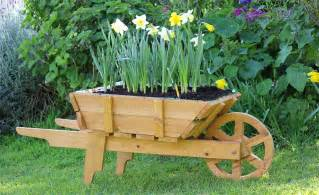 and cart planter box wooden wheelbarrow planter and