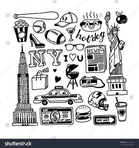 new doodle handdrawn new york doodles stock vector 232236163