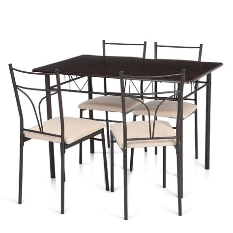 4 Chairs 5 Piece Metal Dining Table Set Kitchen Room Metal Dining Room Table Sets