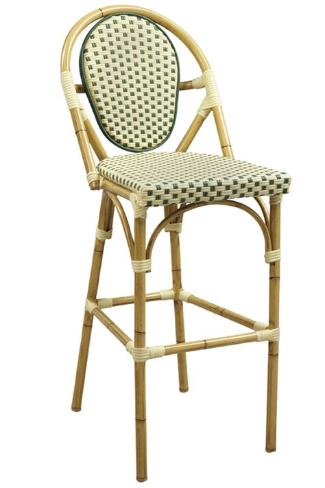 Rattan Bistro Bar Stools by Rattan Bamboo Bistro Aluminum Frame Bar Stools In Beige Green