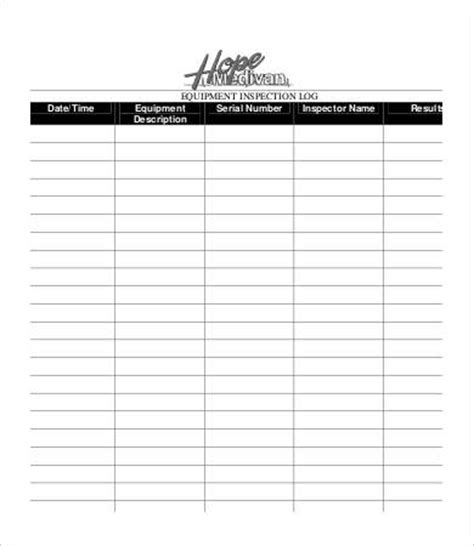 Equipment Log Template 9 Free Word Excel Pdf Format Download Free Premium Templates Inspection Log Template