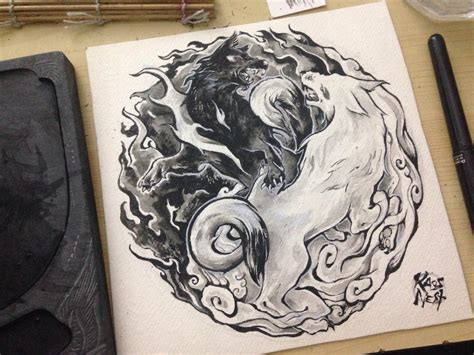 yin yang wolves tattoo design by kaos nest on deviantart