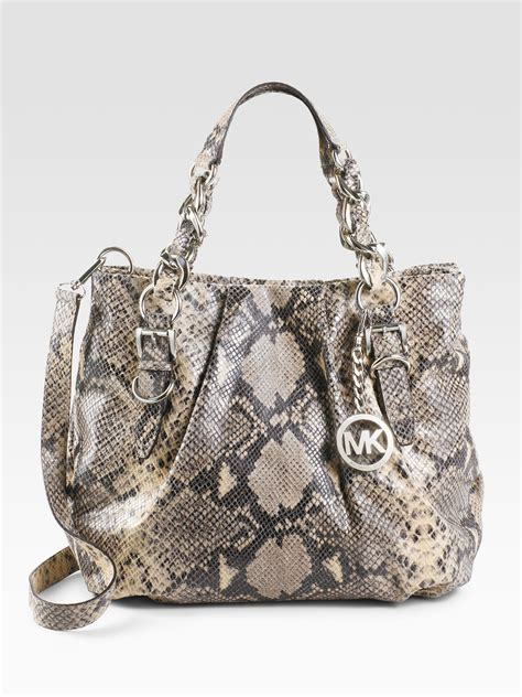 Python Purse by Lyst Michael Michael Kors Embossed Python Leather Tote