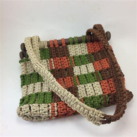 70s Macrame - macrame purse 70s hippie boho style handbag green brown