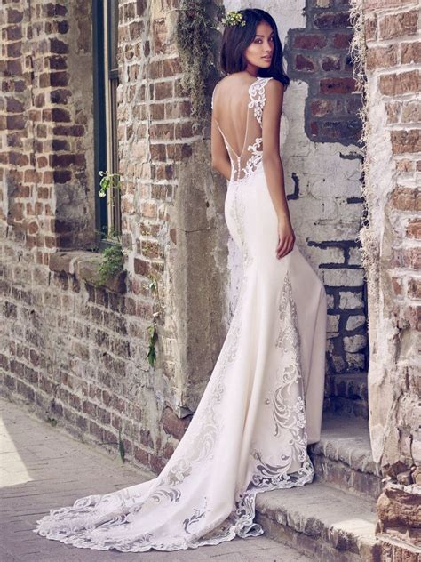 8mc469 simple crepe wedding dress by maggie sottero