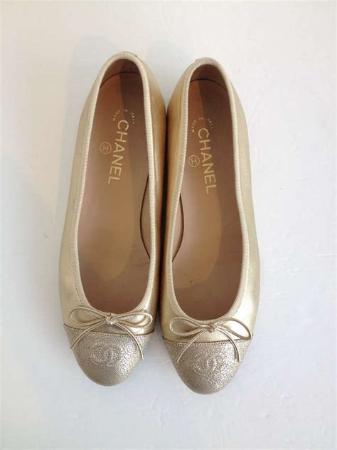 Flat Shoes Alroy 5 Beige White chanel gold leather ballet flat at 1stdibs