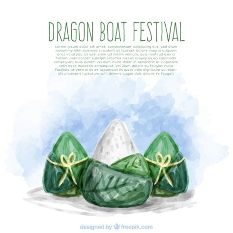 dragon boat festival and food dragon boat festival watercolor food background vector
