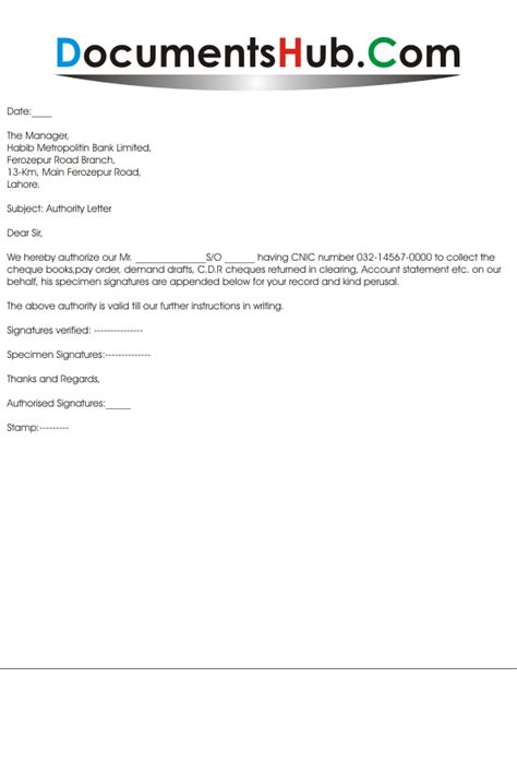 authorization letter for bank for deposit money authority letter for bank documentshub