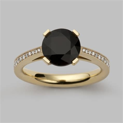 Black Sapphire 5ct radiant light 2ct black sapphire engagement ring gold