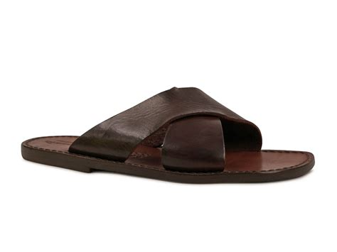 italian slippers mens leather slippers handmade in italy in brown
