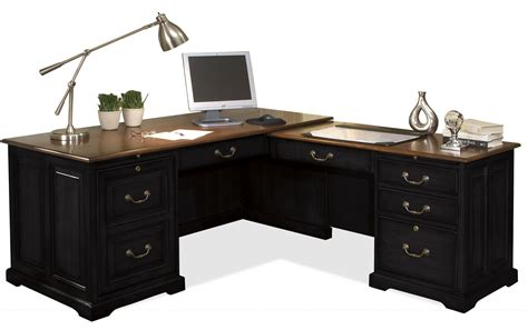 Furniture Black Wooden L Shaped Desk With Drawers And