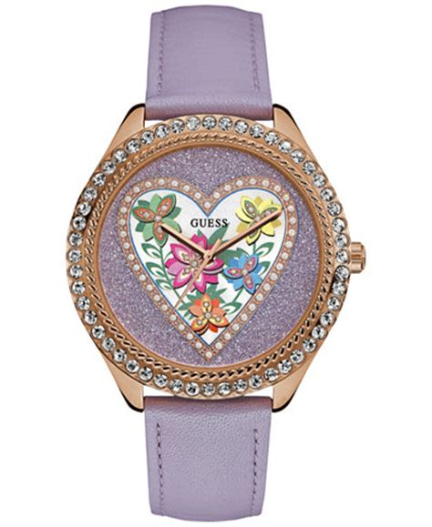 Guess Ac Lether Purple guess s purple leather 38mm u0908l1 watches jewelry watches macy s