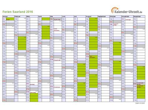 Kalender 2016 Jahres Bersicht Ferien 2016 Saarland B 252 Rozubeh 246 R
