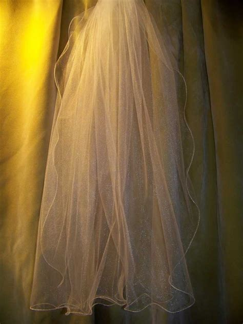 glimmer illusion veil lettuce edge illusion 2 tier waltz knee length veil