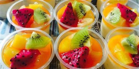 resep cara membuat puding sutra praktis resep masakan resep puding sutra buah sirup jeruk lembut lumer di mulut