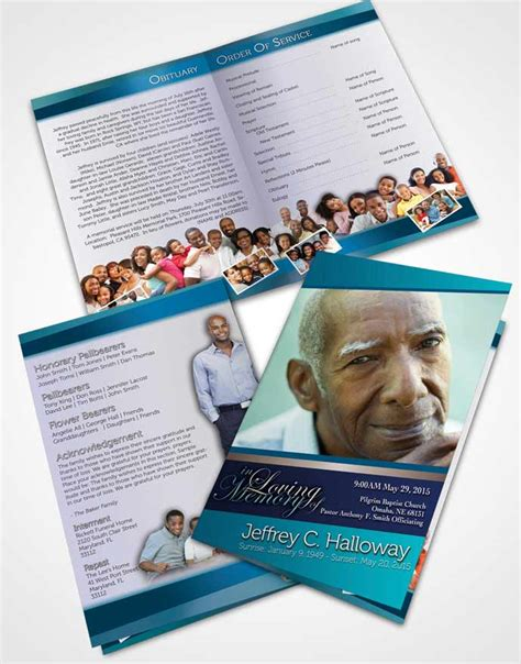 bi fold memorial card template pages funeral programs professional editable templates