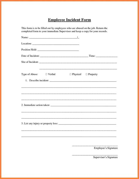 report template incident form template pictures inspiration exle