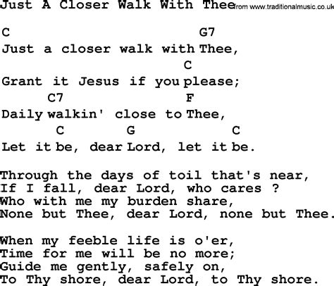 printable lyrics to just a closer walk with thee top 1000 folk and old time songs collection just a closer