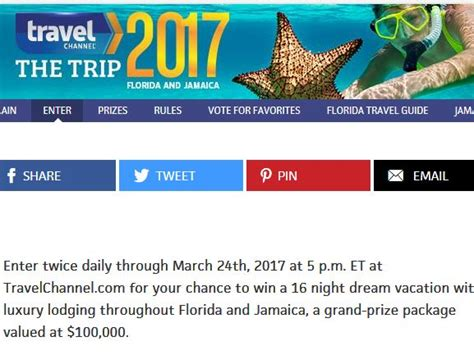 Disney Com Sweepstakes 2017 - travel channel s the trip 2017 sweepstakes