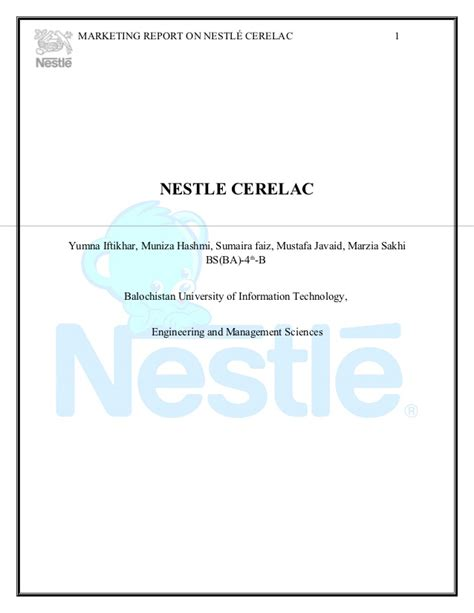 email nestle nestle cerelac marketing plan
