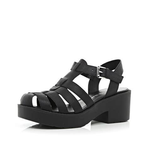 black block sandals river island black block heel gladiator sandals in black