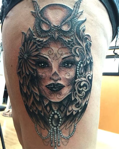 woman s face tattoo s owl by mello my