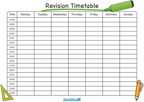 Revision Timetable Template a guide to managing revision during the festive