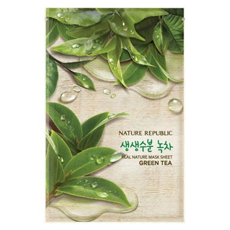 Masker Nature Republic mặt nạ chiết xuất tr 224 xanh real nature green tea mask sheet