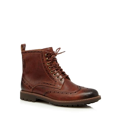 debenhams mens boots clarks mens brown leather montacute lord brogue boots