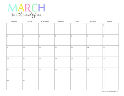 blank calendar template for 2015 printable blank monthly calendar 2015 2017 printable