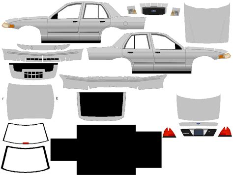 black and white car paper model templates ford crown victoria papermodelers com