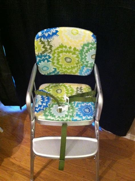 vinyl kitchen chair fabric vintage cosco highchair makeover recovered the chair with