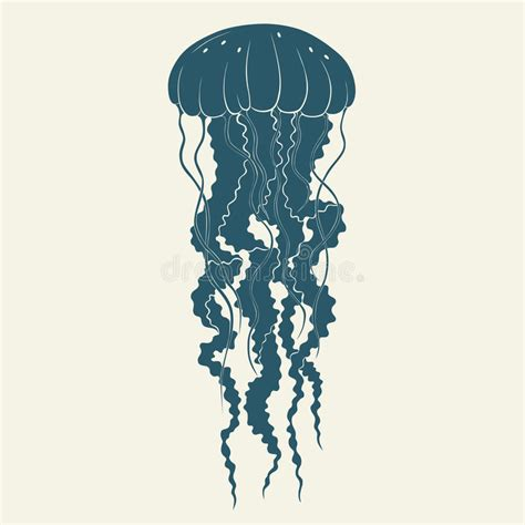 silhouette of jellyfish template for labels vector stock