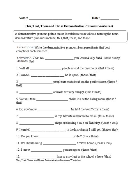 Nouns And Pronouns Worksheet by This That These Those Demonstrative Pronouns Worksheet