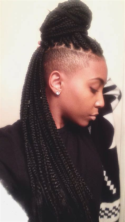 ways to style box braids with faded sides shaved sides and back box braids amina pinterest
