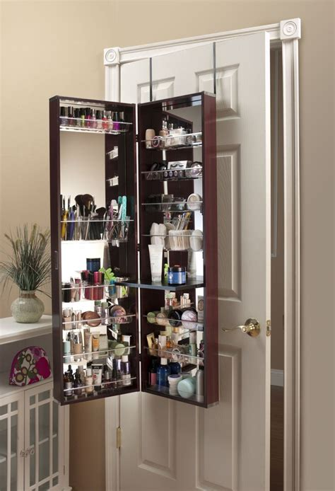 beauty armoire make up organizer mirror cosmetic armoire cherry