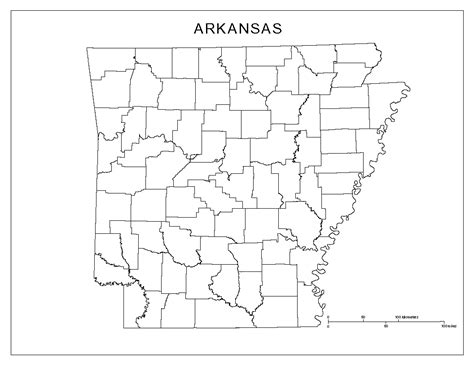 Arkansas County Outline Map by Arkansas Blank Map