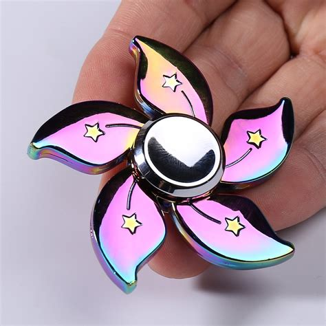 Fidget Spinner Rainbow Metallic Flower Rainbow Termurah rainbow floral time killer edc metal fidget spinner in colorful 6 6cm sammydress