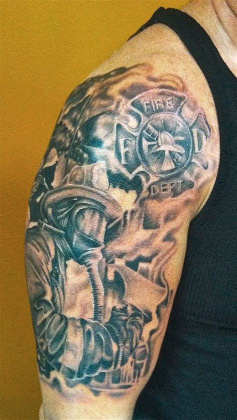 fire scene amp maltese cross tattoo shoulder shared by