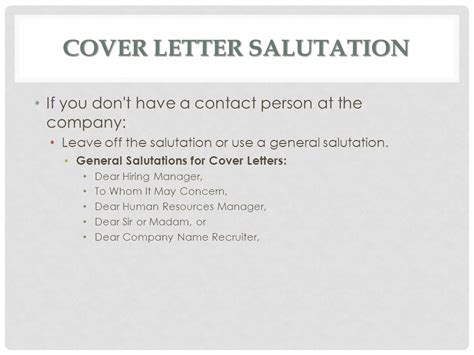 Cover Letter Salutation If Unknown by Cover Letters Ms Batichon Ppt