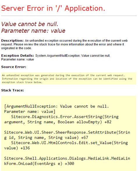 layout parameters cannot be null value cannot be null parameter name value sitecore
