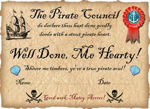 pirate certificate well done rooftop post printables