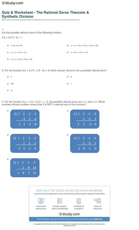 Division And Synthetic Division Worksheet by Rational Root Theorem Worksheet Photos Getadating