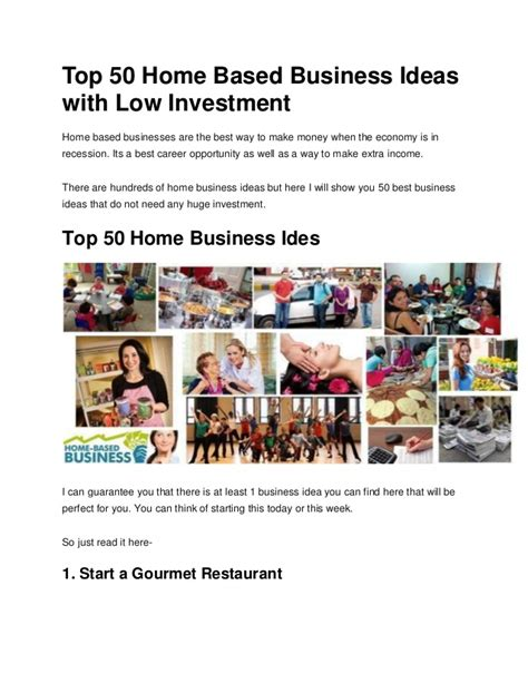 top 50 home based business ideas with low investment