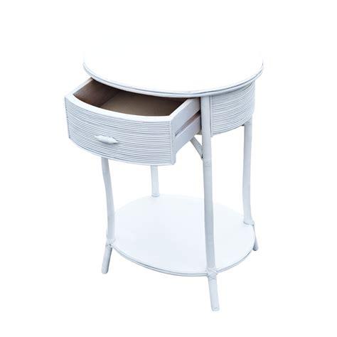 mid century white wicker side table ebay