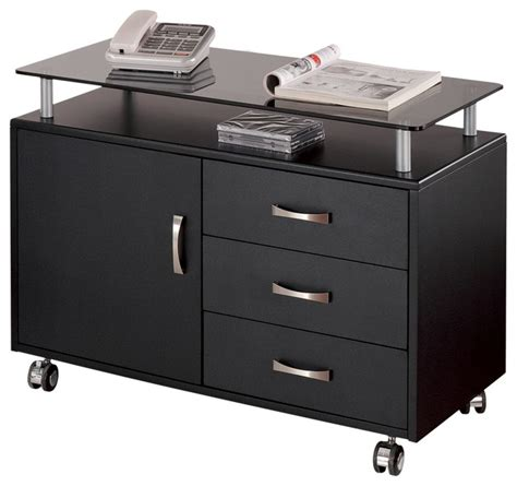 Glass File Cabinet Techni Mobili Deluxe Rolling Glass Top Storage Cabinet In Graphite Modern Filing Cabinets